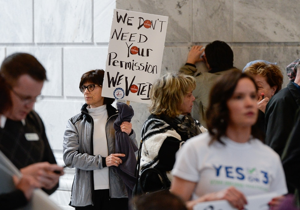 (Francisco Kjolseth | The Salt Lake Tribune) Kathy Adams joins over 300 demonstrators in the Capitol rotunda on Monday, Jan, 28, 2019, on the first day of the Legislative session to rally in support of protecting Proposition 3, the Medicaid Expansion law recently passed by voters.