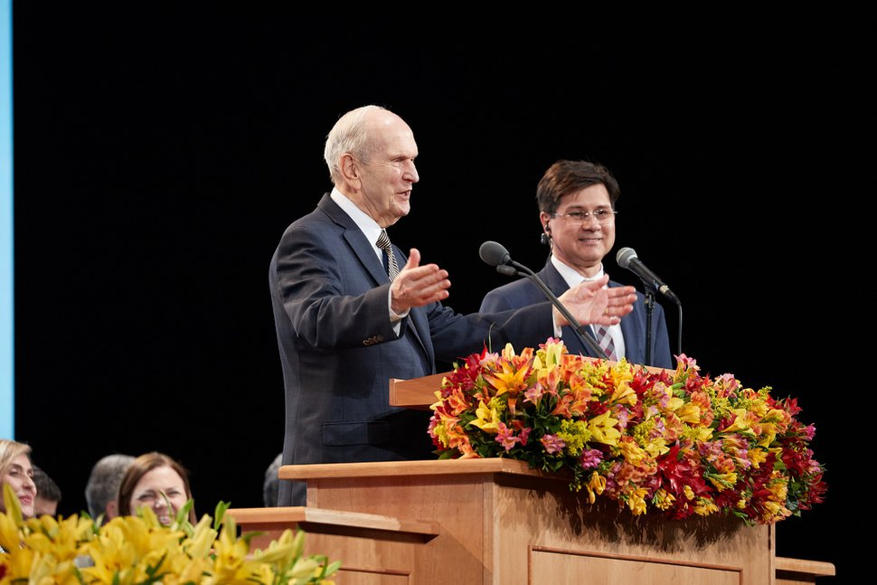"(Photo courtesy of The Church of Jesus Christ of Latter-day Saints) ""Some of these children you have are some of the brightest children that the Lord has ever let come to planet Earth,"" said President Russell M. Nelson of The Church of Jesus Christ of Latter-day Saints as he wrapped up his nine-day Latin America ministry, in São Paulo, Brazil, Sept. 1, 2019."