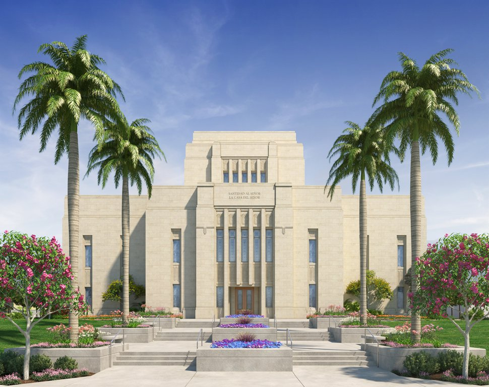 (Photo courtesy of The Church of Jesus Christ of Latter-day Saints) Rendering of the Lima Peru Los Olivos Temple.