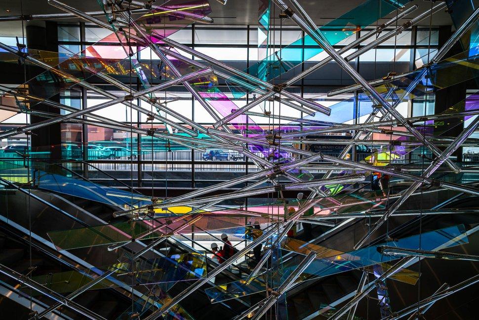 (Trent Nelson | The Salt Lake Tribune) The Falls, an art installation at the new Salt Lake City International Airport on Thursday, Aug. 27, 2020.
