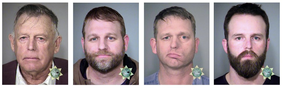 (Multnomah County Sheriff's Office file photo via AP) This undated, combination file photo provided by the Multnomah County, Ore., Sheriff's Office shows, from left; Nevada rancher Cliven Bundy and his sons Ammon Bundy and Ryan Bundy and co-defendant Ryan Payne. Ryan Bundy, who is serving as his own lawyer, was ordered released Monday, Nov. 13, 2017 to a halfway house for the men's trial stemming from a 2014 armed standoff against government agents in a public lands cattle grazing dispute.