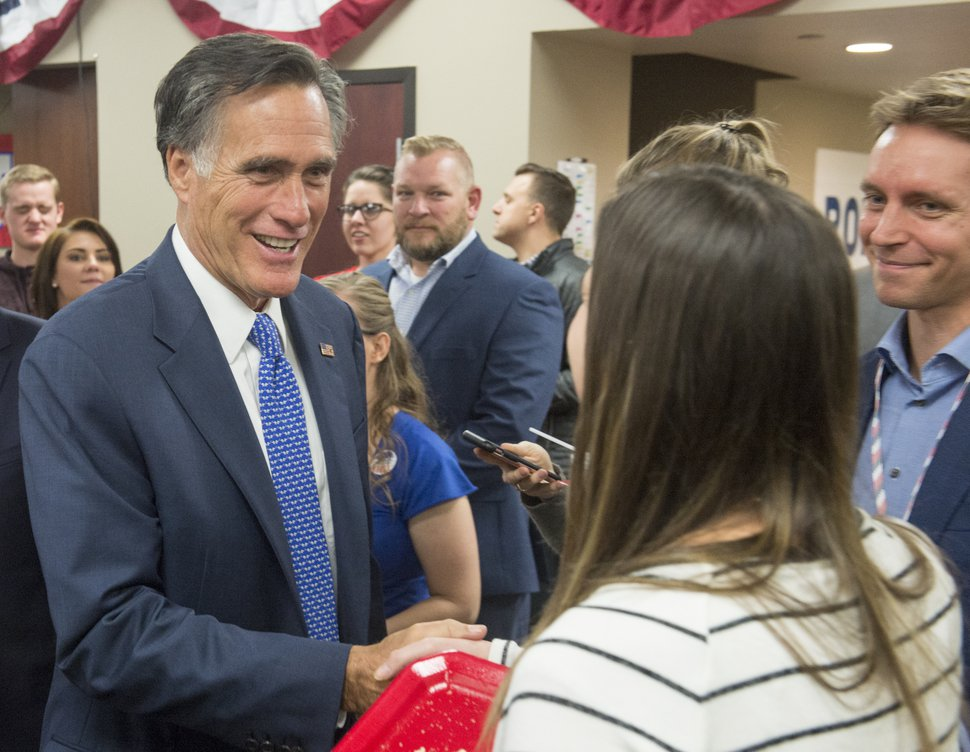 (Rick Egan | The Salt Lake Tribune) Mitt Romney shakes hands with supporters at Romney Headquarters in Orem on election night, Tuesday, Nov. 6, 2018.