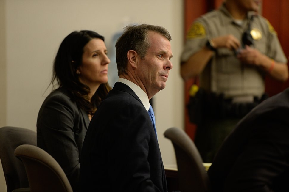 Francisco Kjolseth | The Salt Lake Tribune Former Utah Attorney General John Swallow looks at the jury after being cleared of all charges during his public-corruption trial in Salt Lake City, Thursday March 2, 2017.