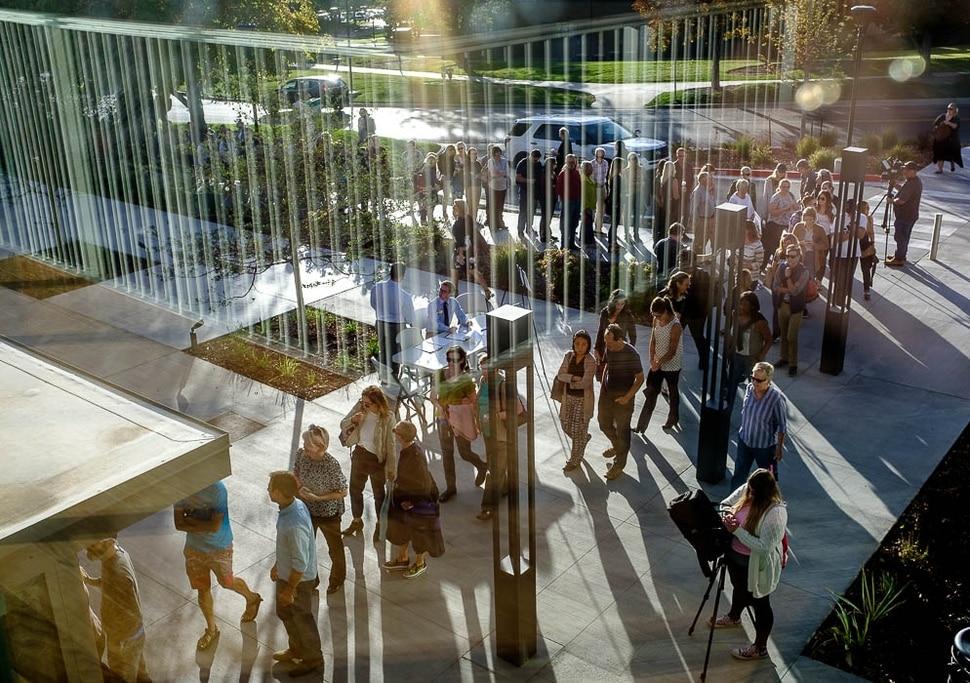 (Trent Nelson | The Salt Lake Tribune) People arrive to hear Anita Hill speak at the University of Utah in Salt Lake City, Wednesday Sept. 26, 2018.