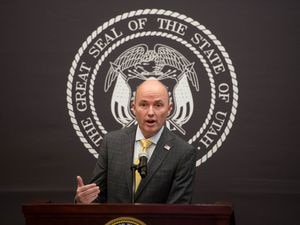 (Francisco Kjolseth  | Tribune file photo) Gov. Spencer Cox provides updates on the ongoing pandemic as he speaks at a news conference in Salt Lake City on Thursday, March 11, 2021.