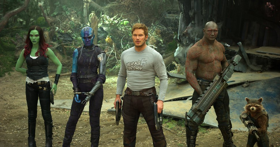 This image released by Disney-Marvel shows Zoe Saldana, from left, Karen Gillan, Chris Pratt, Dave Bautista and Rocket, voiced by Bradley Cooper, in a scene from,
