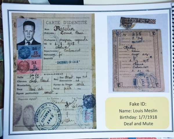 (Photo courtesy of the Moseley Family) Fake ID, used by Lonnie Moseley, when he crash landed in France in WWII, avoiding detection of Germans by hiding out hiding out with a French farming family at her home in Holladay, Friday, October 6, 2017.