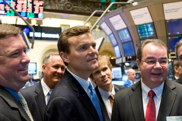 Huntsman Corp. President and CEO Peter Huntsman rings the closing bell at the New York Stock Exchange on Feb. 17, 2011.