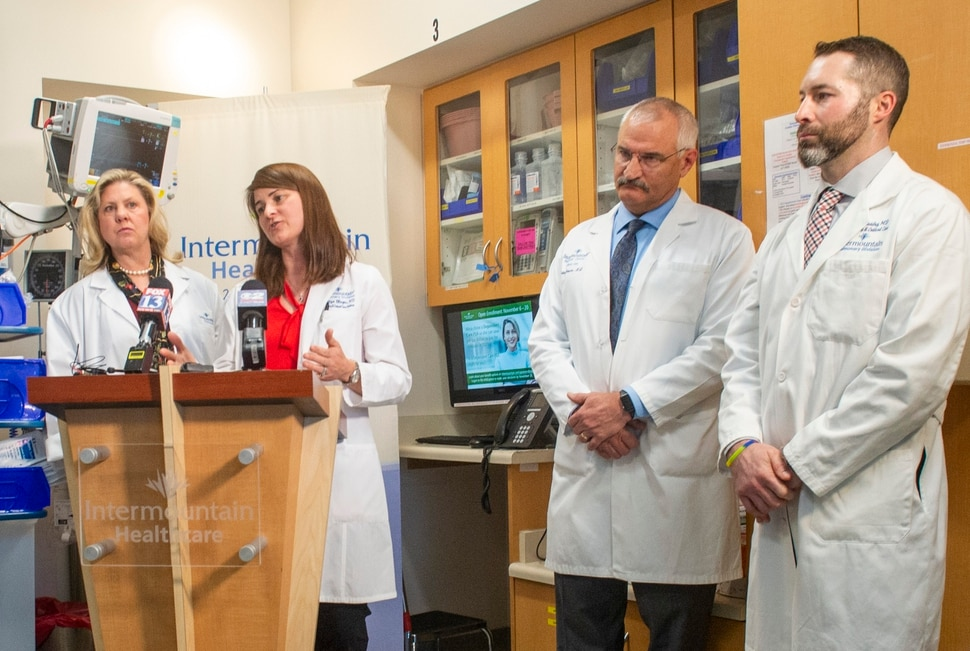 (Rick Egan | The Salt Lake Tribune) Denitza Blagev from Intermountain Pulmonary Division talks about the results of Intermountain Health Care study about treatment guidelines for patients for e-cigarette or vaping-associated lung injuries, Friday, Nov. 8, 2019.