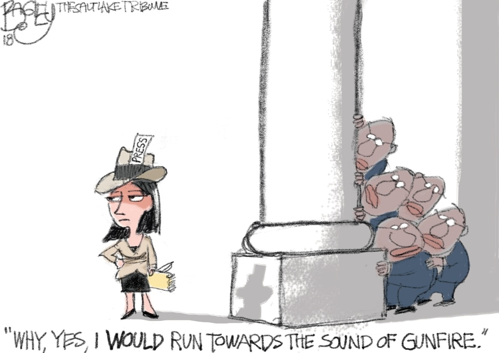 This Pat Bagley cartoon appears in The Salt Lake Tribune on Tuesday, Feb. 27, 2018.