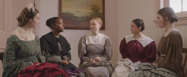 (Courtesy Excel Entertainment) Jane Manning sits with the Partridge and Lawrence sisters in a scene from the upcoming feature film tentatively titled