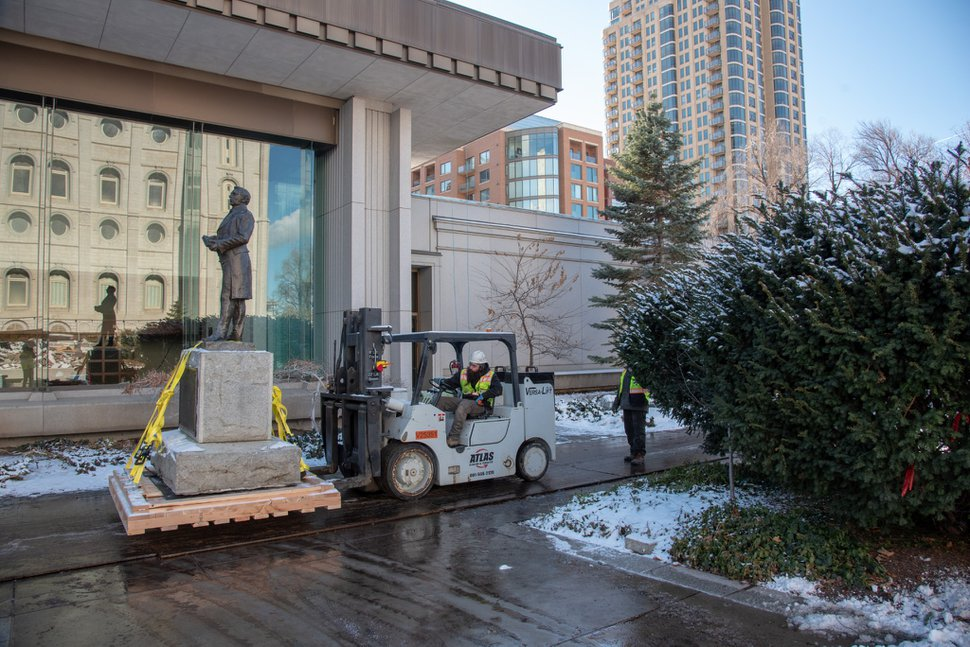 (Photo courtesy of The Church of Jesus Christ of Latter-day Saints) Crews remove a bronze statue of church founder Joseph Smith Jr. for safekeeping and restoration during the Temple Square renovation in Salt Lake City, Friday, Jan. 10, 2020.
