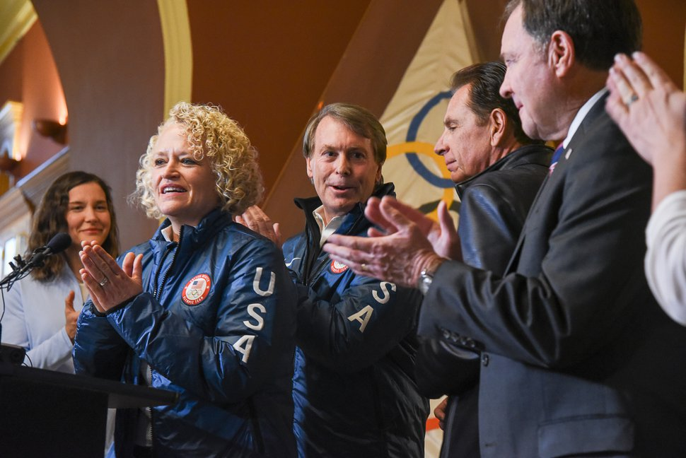 (Francisco Kjolseth | The Salt Lake Tribune) Mayor Jackie Biskupski celebrates with other Salt Lake City officials after getting the news that U.S. Olympics Committee chose Salt Lake City over Denver to bid for a future Winter Olympics, possibly 2030, as they gather at City Hall on Friday, Dec. 14, 2018.