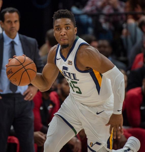 (Rick Egan | The Salt Lake Tribune) Utah Jazz guard Donovan Mitchell (45) leads a fast break, in NBA action between Utah Jazz and Miami Heat, at Vivint Smart Home Arena Wednesday, Dec. 12, 2018.
