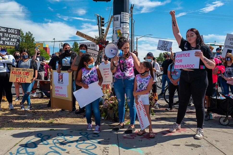 (Trent Nelson | The Salt Lake Tribune) Alysha Perez, sister-in-law of Bernardo Palacios-Carbajal, speaks at a rally against police brutality in Salt Lake City on Saturday, June 27, 2020.