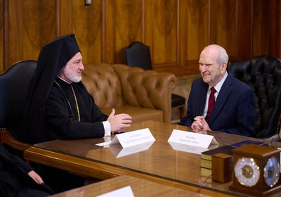 (The Church of Jesus Christ of Latter-day Saints) Archbishop Elpidophoros of the Greek Orthodox Archdiocese of America speaks with President Russell M. Nelson in the Church Administration Building on July 22, 2021.