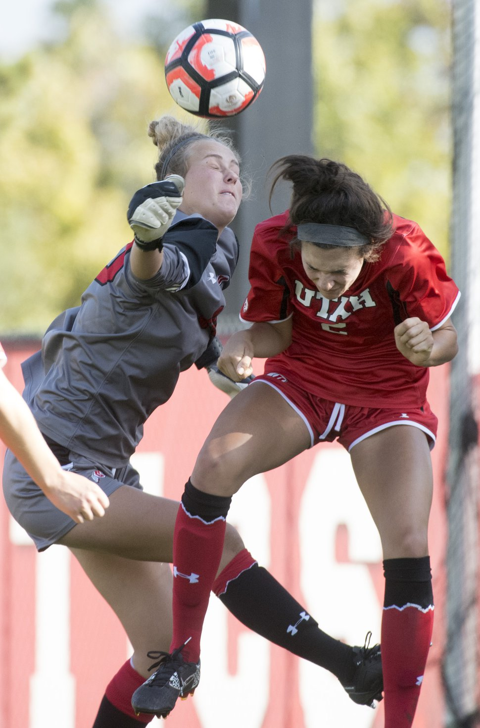 Rick Egan | The Salt Lake Tribune file photo Utah goalkeeper Carly Nelson (00) and Tavia Leachman (2) defend the goal, in soccer action, BYU vs. Utah, at the Ute soccer field, Monday, September 5, 2016.