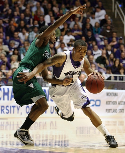 (Steve Griffin | Tribune file photo) In this 2010 photo, Weber State's Damian Lillard drives past Portland State's Melvin Jones during the semifinal game of the Big Sky Tournament at the Dee Events Center in Ogden.