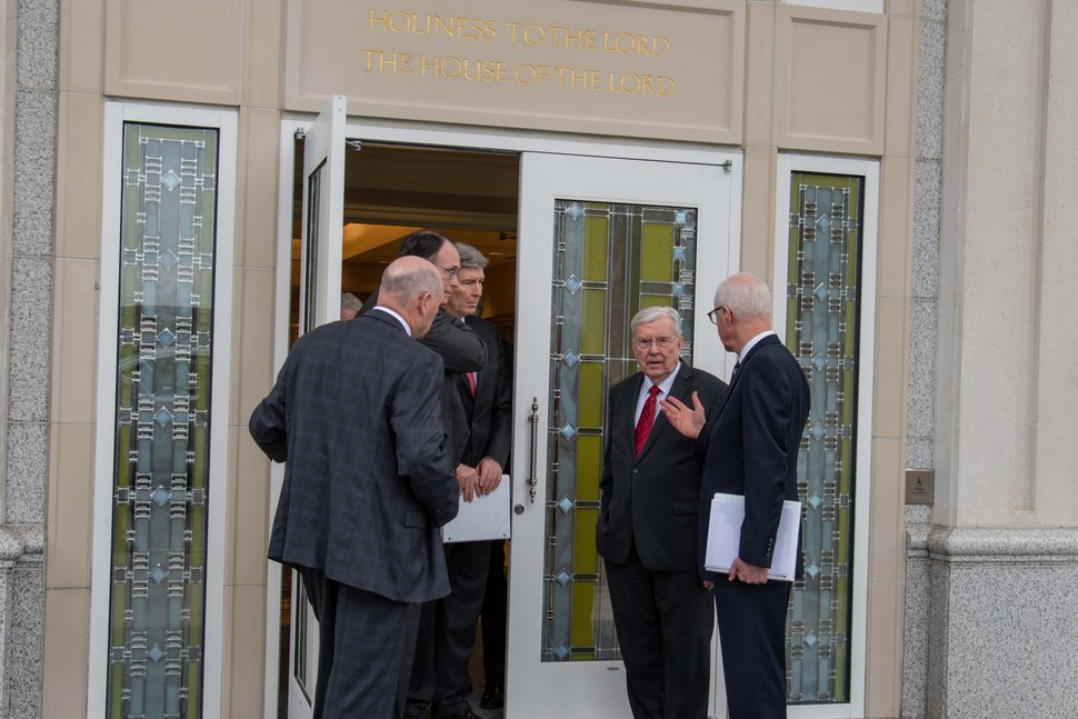 (Courtesy of the LDS Church) President M. Russell Ballard, acting president of the Quorum of the Twelve Apostles of The Church of Jesus Christ of Latter-day Saints, gathers with other church leaders to review the repairs made to the Houston Texas Temple. Floodwaters breached the temple in August 2017 and the temple had to be closed.