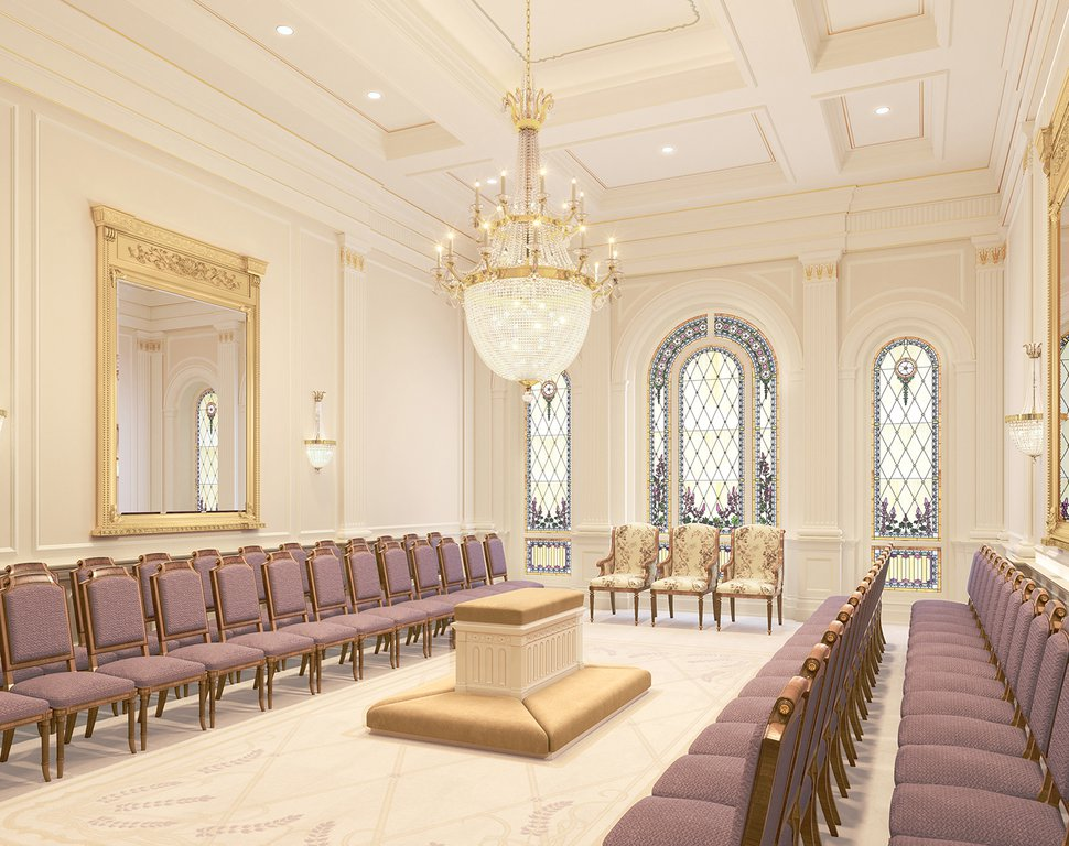 (Image courtesy of The Church of Jesus Christ of Latter-day Saints) An artist's rendering of the sealing room in The Church of Jesus Christ of Latter-day Saints' to-be-constructed Tooele Valley Utah Temple.