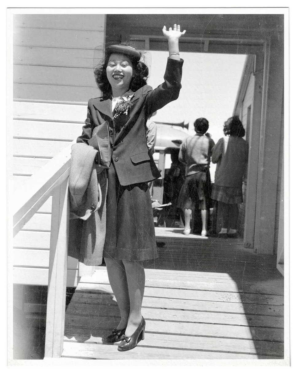 (Utah State Historical Society via The New York Times) In an image provided by the Utah State Historical Society, Mitsuye leaves the Central Utah Relocation Center in Topaz in 1945. Endo was the lead plaintiff in a Supreme Court case that successfully challenged mass internment of American citizens during World War II.