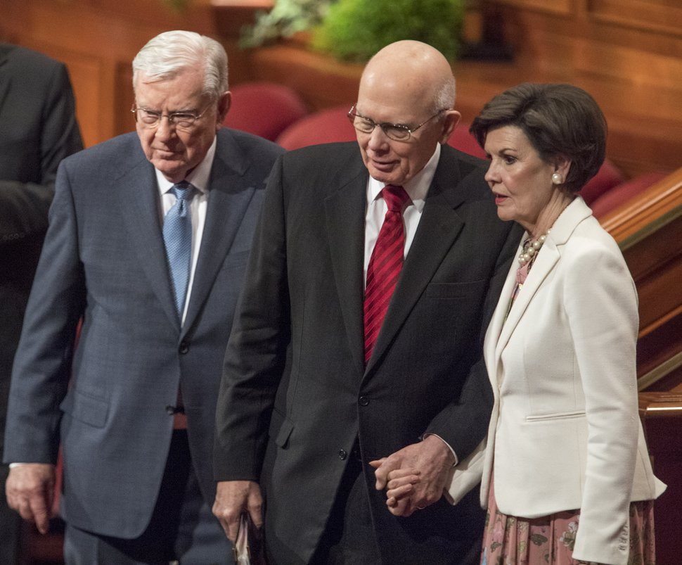 (Rick Egan | The Salt Lake Tribune) Apostle M. Russell Ballard, Dallin H. Oaks, and his wife, Kristen Oaks, after the Saturday morning session of the188th Annual General Conference in Salt Lake City, Saturday, March 31, 2018.