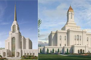 (Courtesy of The Church of Jesus Christ of Latter-day Saints) Renderings of the Syracuse Temple, left, and the Deseret Peak Temple, which will be built in Tooele.