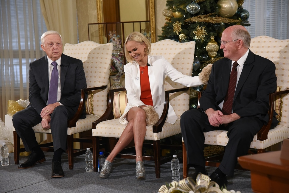 (Francisco Kjolseth | The Salt Lake Tribune) Kristin Chenoweth, the guest artists and narrator at The Tabernacle Choir's annual Christmas concert this year joins President of the choir Ron Jarrett, left, and music director Mack Wilberg during a press conference at the Relief Society Building on Wed. Dec. 12, 2018.