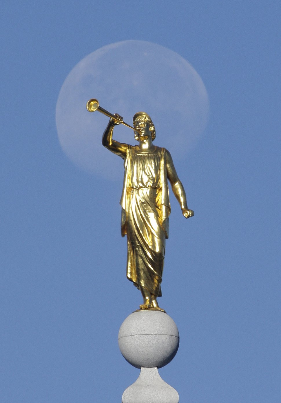 (Rick Bowmer | Associated Press file photo) In this Sept. 11, 2014, photo, the angel Moroni statue sits atop the Salt Lake Temple.