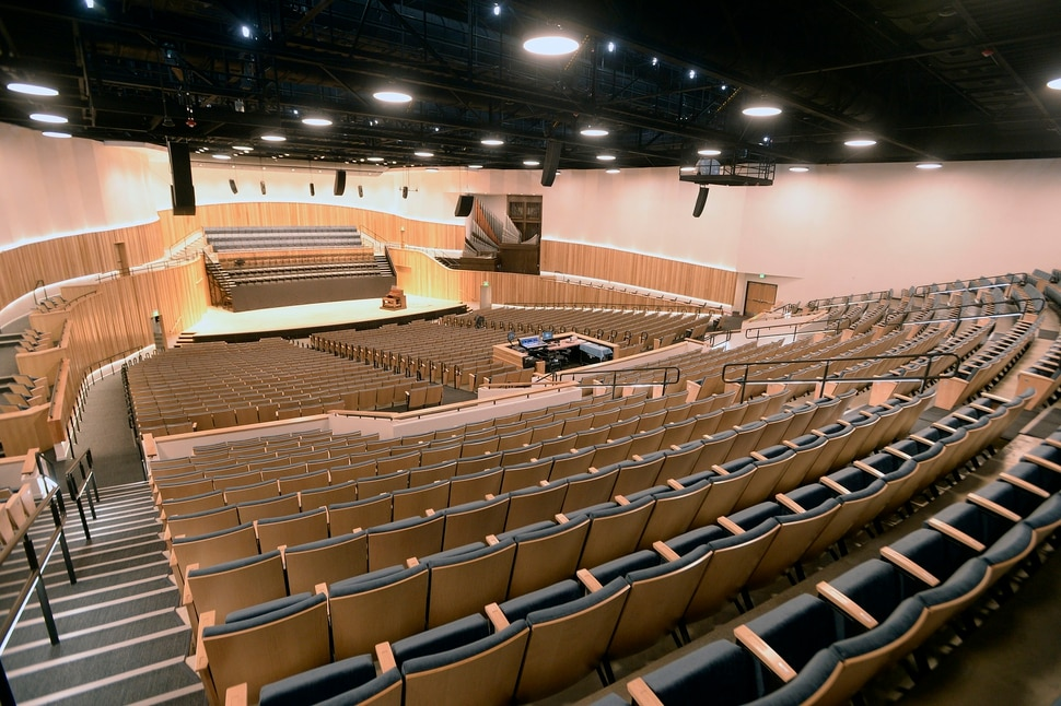 (Al Hartmann | The Salt Lake Tribune) Utah State University is getting ready to reopen the renovated Chase Fine Arts Center, an arts complex that includes the totally remodeled Daines Concert Hall.