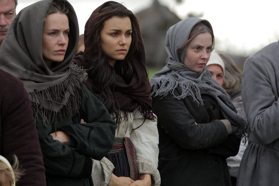 This image released by Roadside Attractions shows Valeria Hodos, from left, Samantha Barks and Lucy Brown in a scene from,