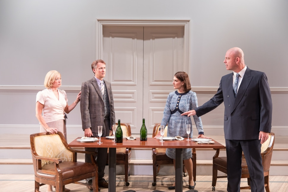 (photo courtesy Pioneer Theatre Company) Married Norwegian diplomats Mona Juul (Kate Middleton, far left) and Terje Rød-Larsen (Jeff Talbott, near left) have dinner with the UN's Marianne Helberg (Susanna Florence, near right) and Norwegian politician Johan Jorgen Holst (Ian Bedford, far right), in a scene from Pioneer Theatre Company's production of J.T. Rogers' Tony-winning play Oslo. The play runs at Pioneer Memorial Theatre from Sept. 14 to 29.