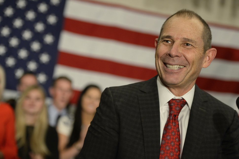 John Curtis, Republican candidate for 3rd Congressional District, celebrates his win at Marriott Hotel & Conference Center, Tuesday, Nov. 7, 2017, in Provo, Utah. The Republican mayor of the Mormon stronghold of Provo has won a special election to replace former U.S. Rep. Jason Chaffetz. (Francisco Kjolseth/The Salt Lake Tribune via AP)