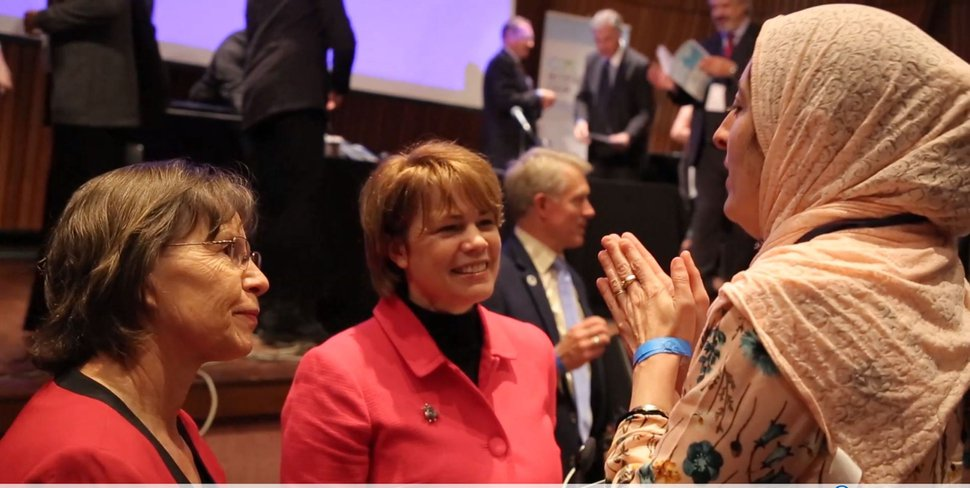 (Courtesy of The Church of Jesus Christ of Latter-day Saints) Sharon Eubank, center, director of LDS Charities and first counselor in the church's Relief Society general presidency, at the G20 Interfaith Forum in Buenos Aires, Argentina, Sept. 27, 2018.
