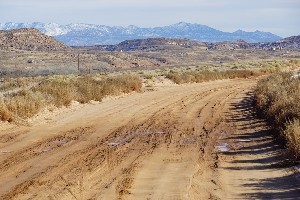 (Zak Podmore | The Salt Lake Tribune) Road conditions on the Navajo Nation near Montezuma Creek have worsened since San Juan County was asked to stop maintenance in 2018 due to a right of way dispute.