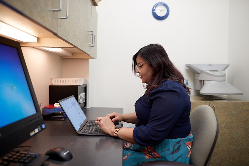 (Photo courtesy of The Church of Jesus Christ of Latter-day Saints) Lorys Saavedra indexes FamilySearch records on her laptop in Centerville, Utah, on Thursday, May 14, 2020.