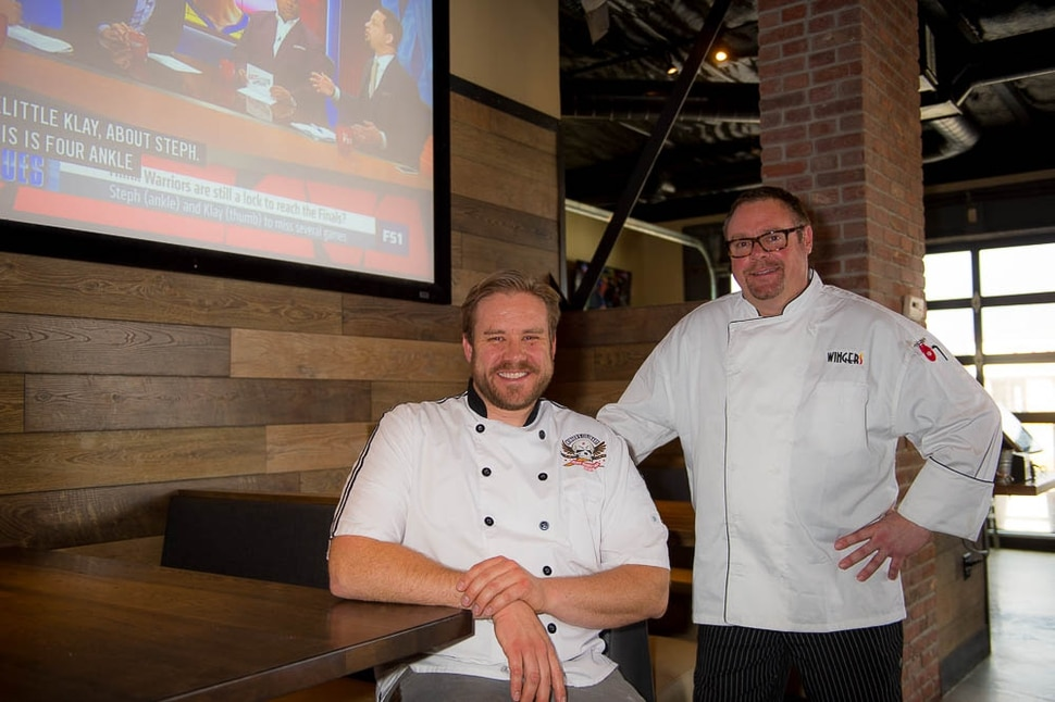(Trent Nelson | The Salt Lake Tribune) Chefs Shawn Bucher and Brandon Howard at the revamped Wingers Restaurant & Alehouse in Murray.