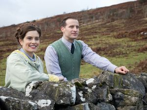"(Photo courtesy of Ed Miller/Playground Television (UK) Ltd.) Rachel Shenton as Helen Alderson and Nicholas Ralph as James Herriot in ""All Creatures Great and Small."""