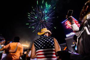 (Trent Nelson     The Salt Lake Tribune) Fireworks at the 4th of July Celebration at the Gateway in Salt Lake City, Thursday July 4, 2019.