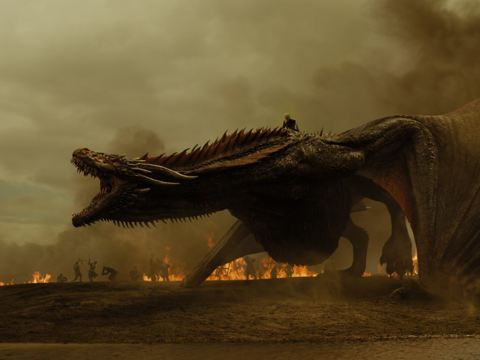 """(Photo courtesy HBO) Despite being wounded, Drogon continues to terrify the Lannister army in the Season 7 episode of """"Game of Thrones"""" titled """"The Spoils of War."""""""