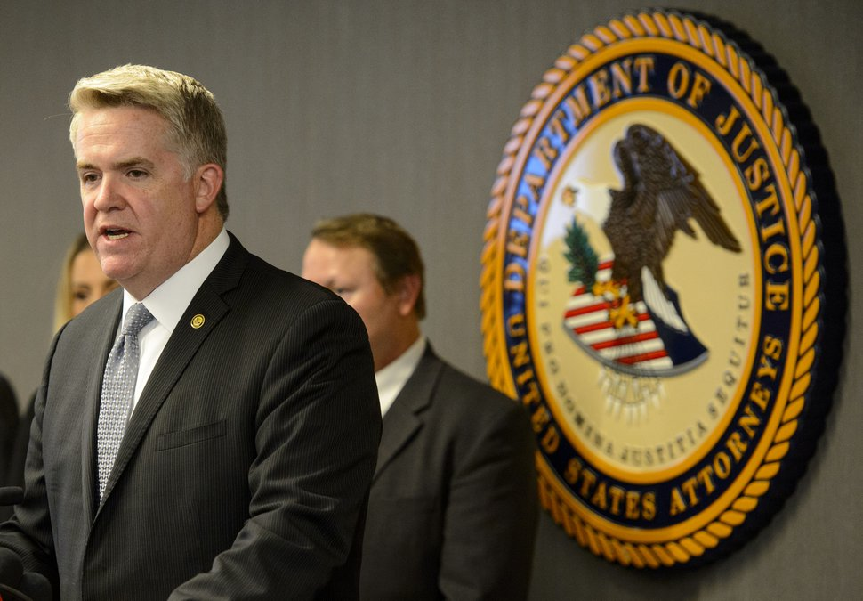 Steve Griffin | The Salt Lake Tribune U.S Attorney John Huber announces a federal grand jury indictment charging six people involved with an international drug trafficking organization involved in manufacturing fake prescription drugs made form Fentanyl. The announcement was made from the U.S. Attorney's office in Salt Lake City Wednesday May 31, 2017. Huber was joined by members from the DEA, Homeland Security, IRS, FDA and the U.S. Postal Service.