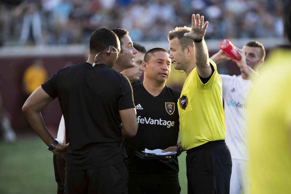 (Photo courtesy Robert Hitz/Real Salt Lake: RSL coach Mike Petke argues with referee Alan Kelly in the 3-2 loss at Minnesota United on Saturday, June 14. Petke was ejected in the 52nd minute of the match.
