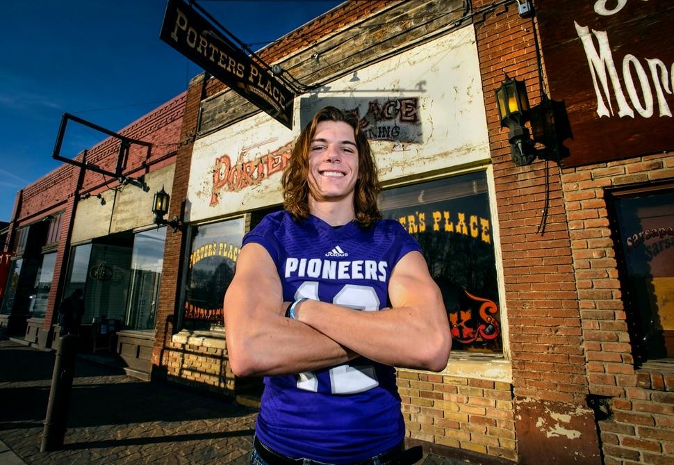 (Steve Griffin | The Salt Lake Tribune) Salt Lake Tribune football player of the year, Lehi quarterback Cammon Cooper, outside Porter's Place on Lehi's Main Street Monday December 18, 2017.