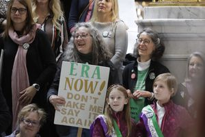 (Rick Bowmer | AP photo)  This Tuesday, Dec. 3, 2019, photo, supporters of the Equal Rights Amendment as they rally at the Utah State Capitol, in Salt Lake City.