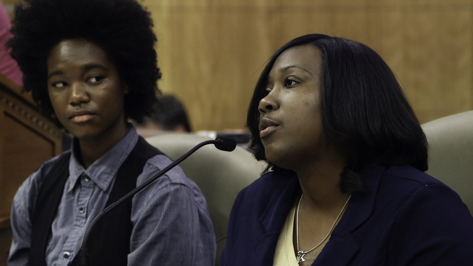 (Photo courtesy of PBS) Activist and former inmate Kelli Dillon, right, flanked by activist Courtney Hooks, testifies before the California Legislature, in a moment captured in director Erika Cohn's documentary
