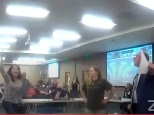 (Granite School District via YouTube) Members of the public become confrontational and force a Granite School Board of Education meeting to adjourn Tuesday, May 4, 2021.