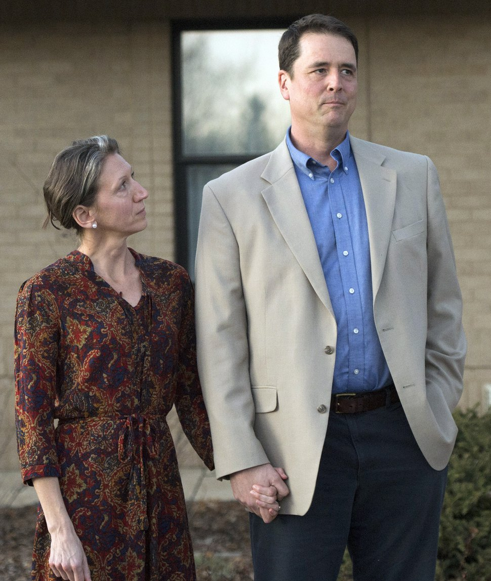 Rick Egan   The Salt Lake Tribune John Dehlin and his wife Margi speak to a crowd of more than 200 people, as they arrive at the North Logan LDS Stake Center for the disciplinary council, in North Logan, Sunday, February 8, 2015