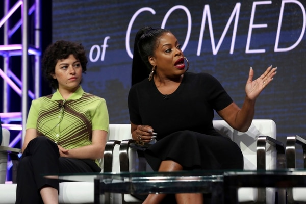 Alia Shawkat, left, and Niecy Nash speak at the TNT and TBS