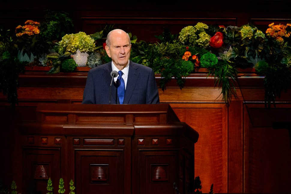 (Trent Nelson | The Salt Lake Tribune) President Russell M. Nelson speaks during the morning session of the 189th Annual General Conference of The Church of Jesus Christ of Latter-day Saints in Salt Lake City on Sunday, April 7, 2019.