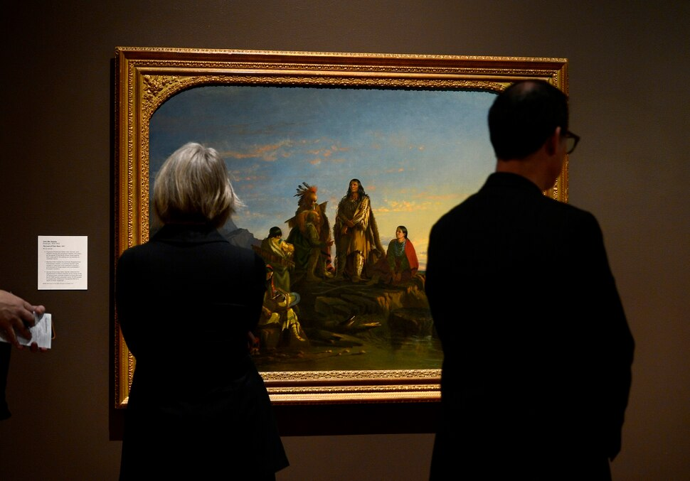(Scott Sommerdorf | The Salt Lake Tribune) Viewers pass by John Mix Stanley's work The Last of Their Race - 1857 during a preview of the Utah Museum of Fine Art's new special exhibit of the touring show Go West! - Art of the American Frontier from the Buffalo Bill Center of the West, Wednesday, November 29, 2017. The exhibit opens to the public on Sunday, Dec 3.